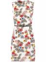 Платье приталенное без рукавов oodji для женщины (слоновая кость), 12C00002B/14522/3019F