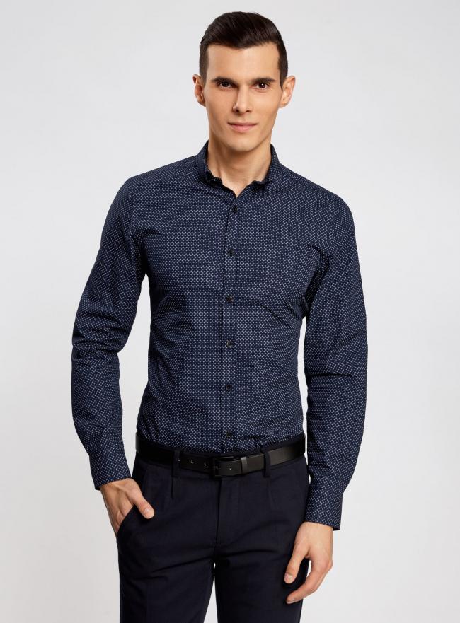 Рубашка принтованная с длинным рукавом oodji #SECTION_NAME# (синий), 3L310137M/19370N/7949G