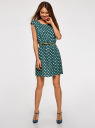 Платье принтованное из вискозы oodji #SECTION_NAME# (зеленый), 11910073-2/45470/6912D - вид 2