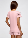 Пижама хлопковая с принтом oodji для женщины (розовый), 56002201-6/46154/4100P - вид 3