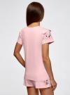 Пижама хлопковая с принтом oodji #SECTION_NAME# (розовый), 56002201-6/46154/4100P - вид 3