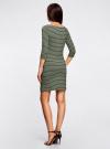 Платье трикотажное в полоску oodji #SECTION_NAME# (зеленый), 14001071-11/46148/6729S - вид 3