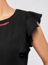 Платье с рукавами-крылышками и украшением на горловине oodji #SECTION_NAME# (черный), 21909002/42720/2900N - вид 5