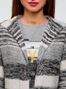Кардиган полосатый с капюшоном oodji #SECTION_NAME# (серый), 63205244/46133/2512S - вид 4