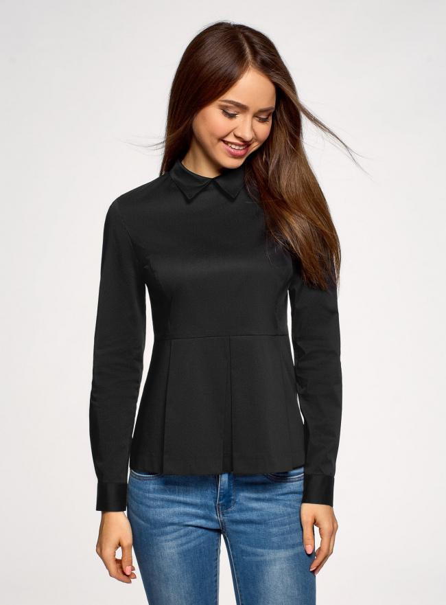 Блузка хлопковая с баской oodji #SECTION_NAME# (черный), 13K00001-1B/42083/2900N