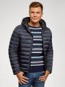 Куртка стеганая с капюшоном oodji #SECTION_NAME# (синий), 1B112009M/25278N/7901N - вид 2