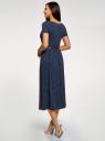 Платье приталенного силуэта с поясом oodji для женщины (синий), 14001232/49253/7912D