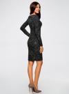 Платье трикотажное с этническим принтом oodji #SECTION_NAME# (черный), 24001070-4/15640/2923E - вид 3