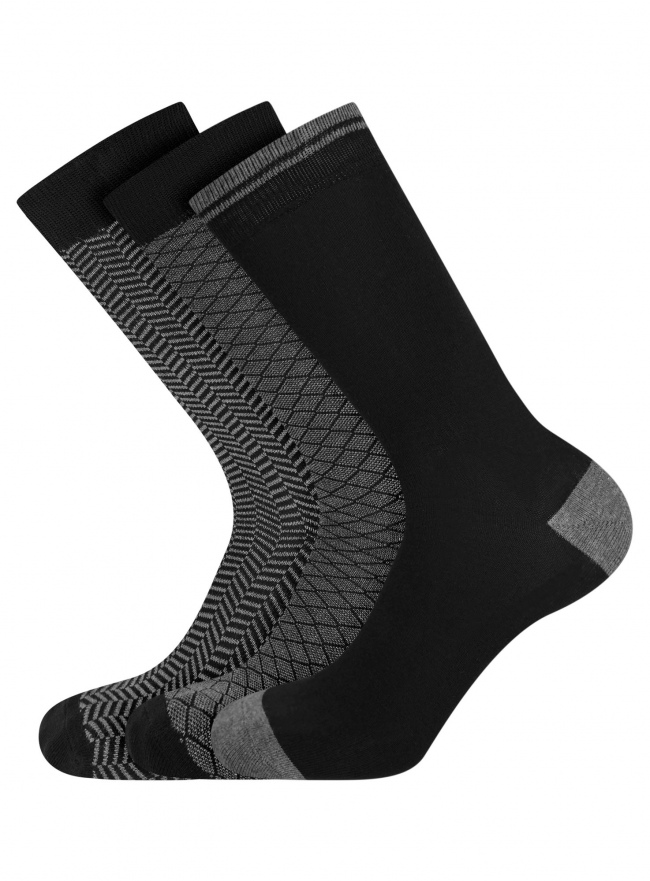 Комплект из трех пар носков oodji #SECTION_NAME# (черный), 7O233003T3/47469/2919J