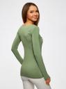 Футболка с длинным рукавом oodji для женщины (зеленый), 24201007-9/46147/6262P