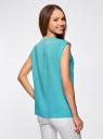 Блузка с короткими рукавами и нагрудными карманами oodji #SECTION_NAME# (бирюзовый), 21412132-2B/24681/7300N - вид 3