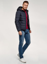 Куртка стеганая с капюшоном oodji #SECTION_NAME# (синий), 1B112027M/33743/7900N - вид 6