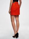 Юбка короткая с отделкой из искусственной кожи oodji для женщины (красный), 11601179-10/46415/4500N