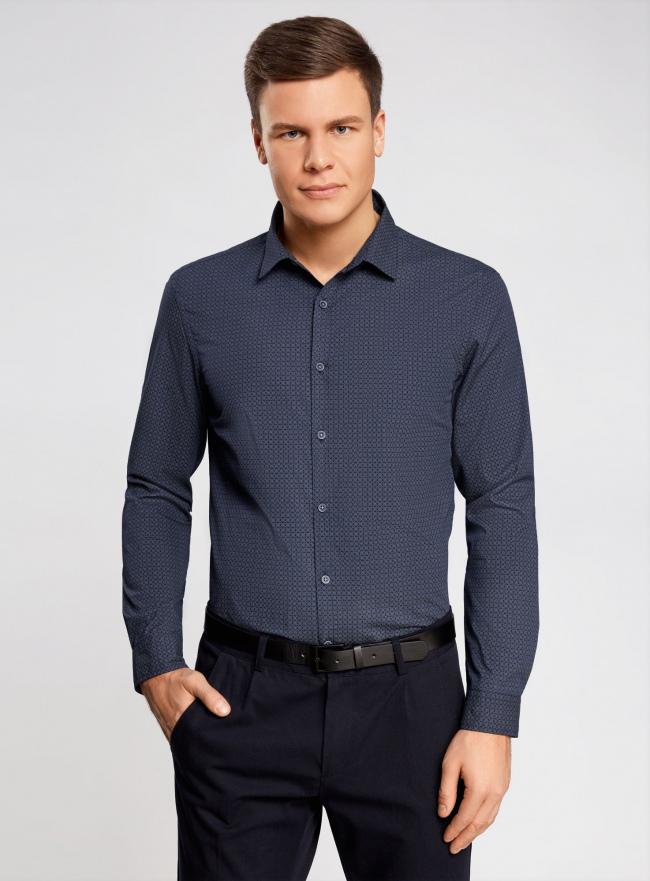 Рубашка принтованная с заплатками на локтях oodji #SECTION_NAME# (синий), 3L310136M/39749N/7923G