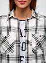 Рубашка клетчатая из вискозы oodji #SECTION_NAME# (белый), 13L11007/47701/1229C - вид 4