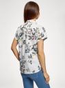 Рубашка прямого силуэта с коротким рукавом oodji #SECTION_NAME# (белый), 13L11021/49224/1250F - вид 3