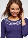 Платье трикотажное приталенное oodji #SECTION_NAME# (синий), 14011005-4/47420/7810P - вид 4