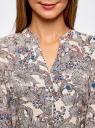 Блузка принтованная из вискозы oodji для женщины (разноцветный), 21400394-1/24681/1219F