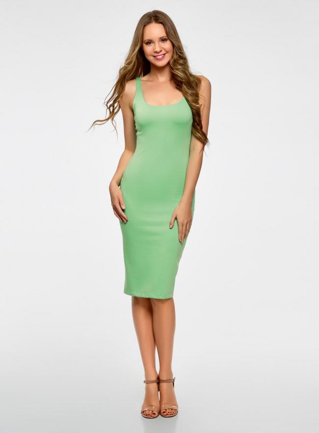 Платье-майка трикотажное oodji для женщины (зеленый), 14015007-8B/46944/6500N
