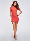 Платье прилегающего силуэта в рубчик oodji #SECTION_NAME# (красный), 14011012/45210/4300N - вид 2