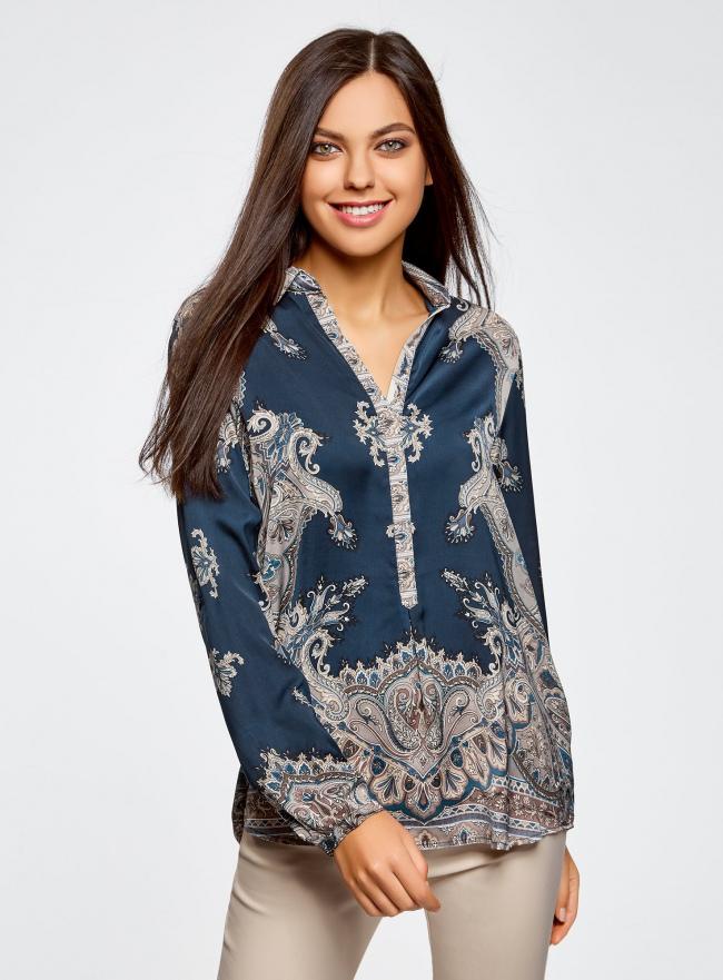 Блузка из струящейся ткани с принтом oodji #SECTION_NAME# (синий), 21411144-3/35542/7935E