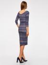 Платье облегающее с вырезом-лодочкой oodji #SECTION_NAME# (синий), 14017001-2B/37809/796CE - вид 3