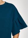 Платье прямого силуэта с воланами на рукавах oodji #SECTION_NAME# (синий), 14000172B/48033/7500N - вид 5
