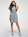 Платье хлопковое на кулиске oodji #SECTION_NAME# (синий), 11901147-5B/42468/7079F - вид 2