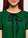 Блузка с коротким рукавом и контрастной отделкой oodji #SECTION_NAME# (зеленый), 11401254/42405/6E29B - вид 4
