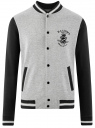 Куртка-бомбер на кнопках oodji #SECTION_NAME# (серый), 5L912040M/48847N/2329P