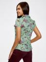 Блузка принтованная из легкой ткани oodji #SECTION_NAME# (зеленый), 21407022-9/12836/6580F - вид 3