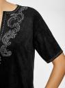 Платье из искусственной замши с декором из металлических страз oodji #SECTION_NAME# (черный), 18L01001/45622/2900N - вид 5