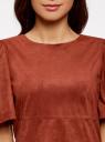 Платье из искусственной замши свободного силуэта oodji #SECTION_NAME# (красный), 18L11001/45622/4900N - вид 4