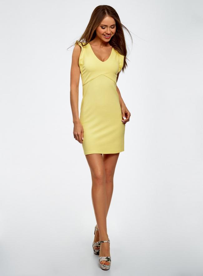 Платье трикотажное с V-образным вырезом oodji для женщины (желтый), 14015004/45394/5000N