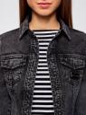 Куртка джинсовая с надписью на спине oodji для женщины (черный), 11109035/46846/2900W