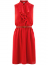 Платье из струящейся ткани с жабо oodji #SECTION_NAME# (красный), 21913018/36215/4500N