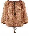 Блузка свободного силуэта с кисточками oodji для женщины (бежевый), 21424003-1/15036/3341F
