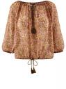 Блузка свободного силуэта с кисточками oodji #SECTION_NAME# (бежевый), 21424003-1/15036/3341F