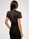 Жакет-болеро из жаккардовой ткани oodji #SECTION_NAME# (коричневый), 22A00003-1/38560/3929J - вид 3
