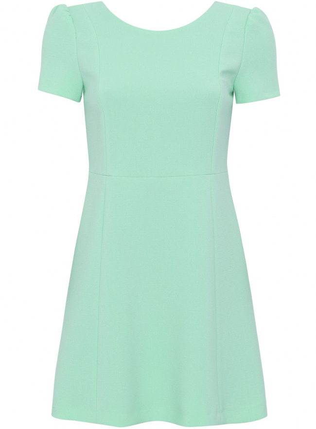 Платье из плотной ткани с V-образным вырезом на спине oodji для женщины (зеленый), 11902157/38095/6500N