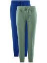 Комплект трикотажных брюк (2 пары) oodji #SECTION_NAME# (разноцветный), 16700030-15T2/46173/19VUN