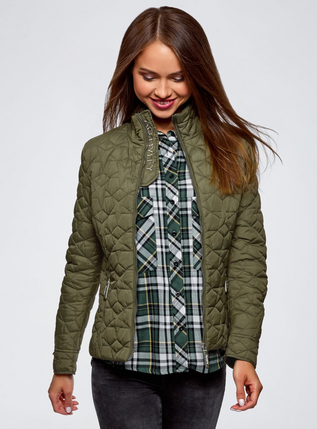 Куртка стеганая с воротником-стойкой oodji #SECTION_NAME# (зеленый), 18304009-2B/48327/6800B