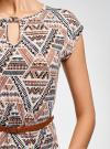 Платье трикотажное с ремнем oodji #SECTION_NAME# (разноцветный), 24008033-2/16300/3037G - вид 5