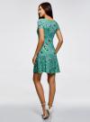 Платье трикотажное с юбкой-трапецией oodji #SECTION_NAME# (зеленый), 14001209-1/42626/6D41U - вид 3