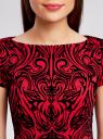 Платье трикотажное с принтом из флока oodji для женщины (красный), 14001117-9/33038/4529O