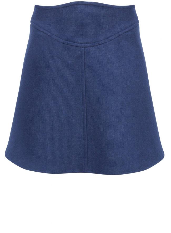 Юбка с фигурным поясом oodji для женщины (синий), 11600414/42054/7900N