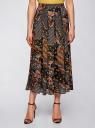 Юбка со складками из струящейся ткани oodji для женщины (черный), 21600285-2M/17358/2955E