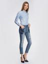 Джинсы slim с вышивкой на карманах oodji #SECTION_NAME# (синий), 12105102/46718/7500W - вид 6