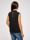 Топ базовый из струящейся ткани oodji для женщины (черный), 14911006-2B/43414/2900N - вид 3