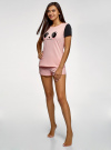 Пижама хлопковая с принтом oodji #SECTION_NAME# (розовый), 56002228/46158/4029P - вид 6